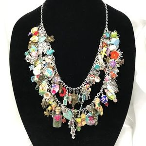 Garden Themed 96 Charms BoHo Statement Necklace